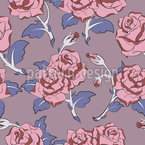 Amethyst Roses Seamless Vector Pattern Design