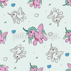 The Cute Baby Unicorn Seamless Vector Pattern Design
