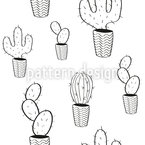 Potted Cactus Seamless Vector Pattern Design