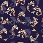 鯉の魚 シームレスなベクトルパターン設計