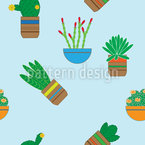 Succulent Plants Seamless Vector Pattern Design