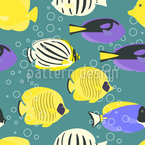 Peces Tropicales Estampado Vectorial Sin Costura
