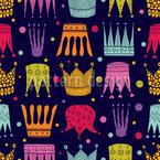 Cute Crowns Seamless Vector Pattern Design