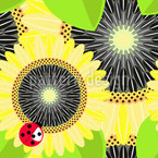Sunflowers and Ladybugs Seamless Vector Pattern Design