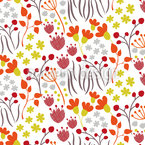 Meadow Wildflowers Seamless Vector Pattern Design