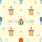 Ice Cream And Drink Seamless Vector Pattern Design