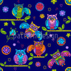 Fancy Owls in the Night Seamless Pattern