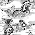 Mandarin Ducks Seamless Vector Pattern