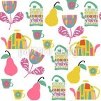 Tea With Pears Seamless Vector Pattern Design