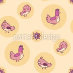 Chicken And Chick Seamless Vector Pattern Design