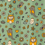 Owl Family In Spring Vector Ornament