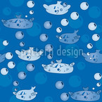 Happy Fish Seamless Vector Pattern Design