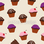 Glaced Cupcakes Seamless Vector Pattern Design