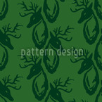 Green Stag Seamless Vector Pattern Design