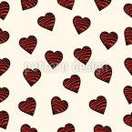 Corações de chocolate Design de padrão vetorial sem costura