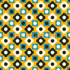 Retro Flower Tiles Seamless Vector Pattern Design