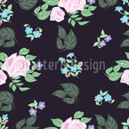 Roses At Night Seamless Vector Pattern Design