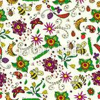 Sommer-Blüten-Wiese Nahtloses Vektormuster
