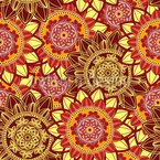 Sonnenaufgang Mandala Nahtloses Vektormuster