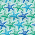 Starfish Mint Seamless Vector Pattern Design