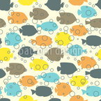 Fishes And Bubbles Vector Pattern