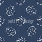 Pufferfish Seamless Vector Pattern Design
