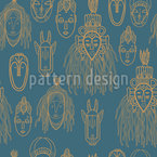 African Trophies Seamless Vector Pattern Design