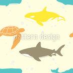 Marine Leben Nahtloses Vektormuster