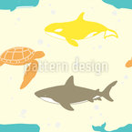 Marine Life Seamless Vector Pattern Design