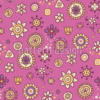 Scrapbook Flowers Seamless Vector Pattern Design