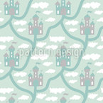 Castle In The Clouds Seamless Vector Pattern