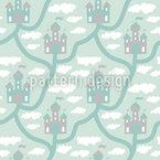 Schloss In den Wolken Nahtloses Vektor Muster