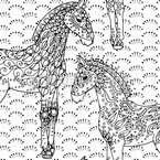 Decorated Filly Horses Design Pattern