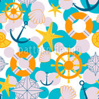 Bathroom Sailor Seamless Vector Pattern Design