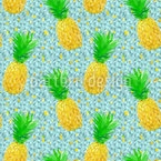 Pineapple on Ice Seamless Vector Pattern