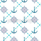Anchor and Compass Seamless Vector Pattern Design