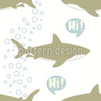 Greeting Sharks Seamless Vector Pattern Design