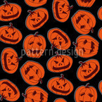 Pumpkin Heads Black Pattern Design