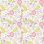 Cute Flowers And Branches Pattern Design