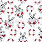 Gerettete Kaninchen Nahtloses Vektormuster