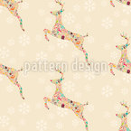 Christmas Reindeer Seamless Vector Pattern Design