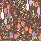 Tulpen in Vasen Nahtloses Vektormuster