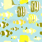 Peces Tropicales Lindos Estampado Vectorial Sin Costura