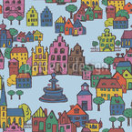 Small Town Seamless Vector Pattern Design