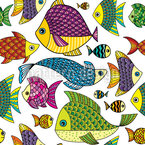 Doodle Sea Fish Seamless Vector Pattern Design