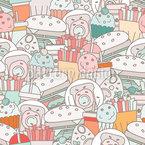 Fast Food Angebot Nahtloses Vektormuster