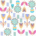 装飾された草原の花 シームレスなベクトルパターン設計