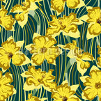 Narcissus And lines Seamless Vector Pattern Design