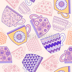 Cup of Coffee or Tea Seamless Vector Pattern Design