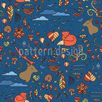 Autumn in a Forest Seamless Vector Pattern Design